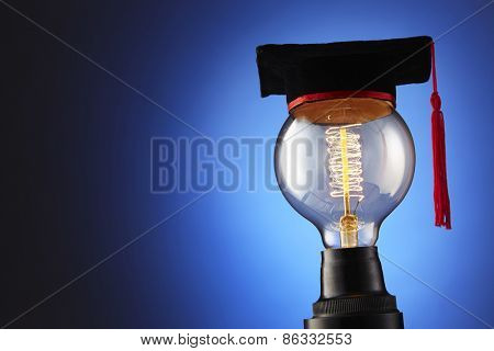 light bulb with mortar board