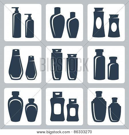 Cosmetic Containers Vector Icons Set
