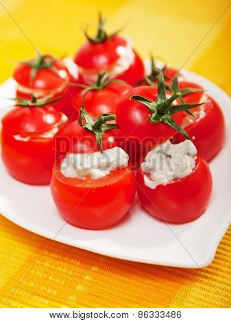 Stuffed Cherry Tomatoes With Cheese Cream
