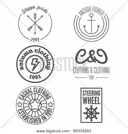 Set of logo and sticker, emblem, print, label and logotype elements for clothing and design