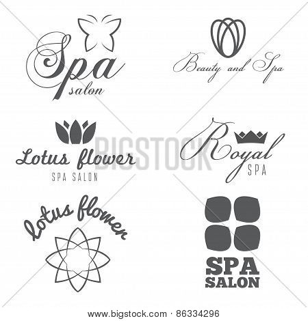 Set of logo, badge, emblem, label, print, sticker or logotype elements for spa salon or beauty cente