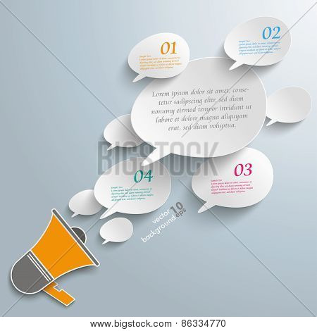 Bevel Speech Bubbles Megaphone