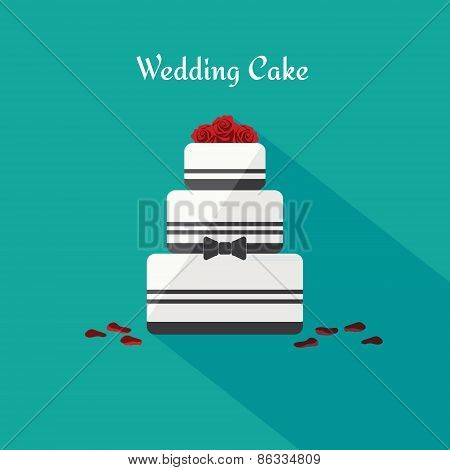 Wedding cake. Icon in the flat style. Vector.