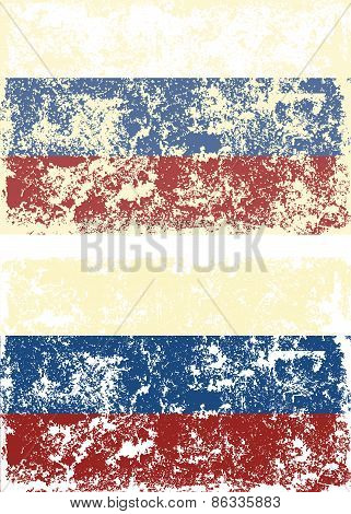 Old scratched flag