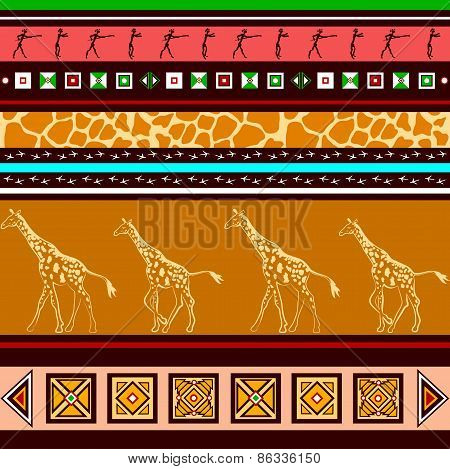 Ethnic Pattern With Giraffes