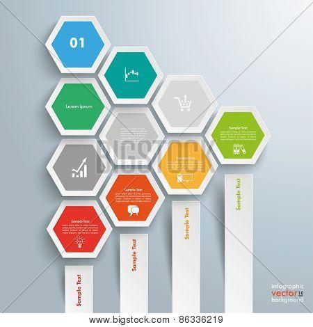 Hexagon Chart Growth 4 Bars Honeycomb