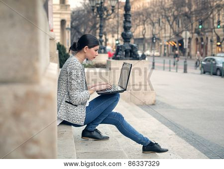 Girl using a pc