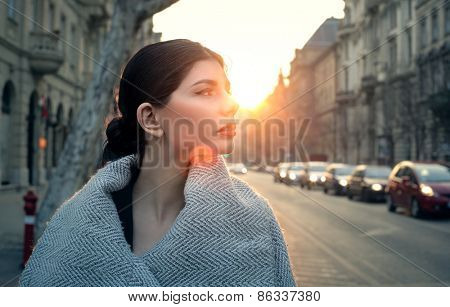 Beautiful woman walking down the street