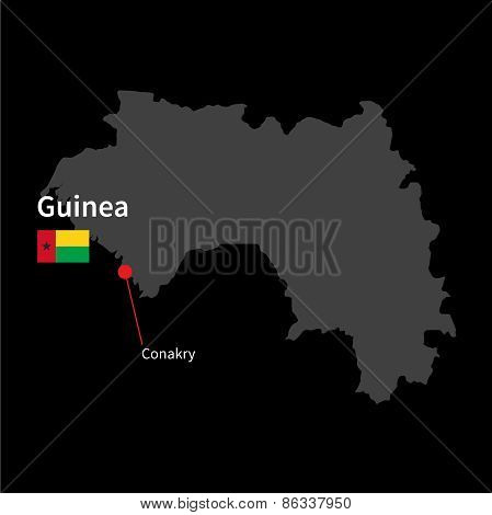 Detailed map of Guinea and capital city Conakry with flag on black background