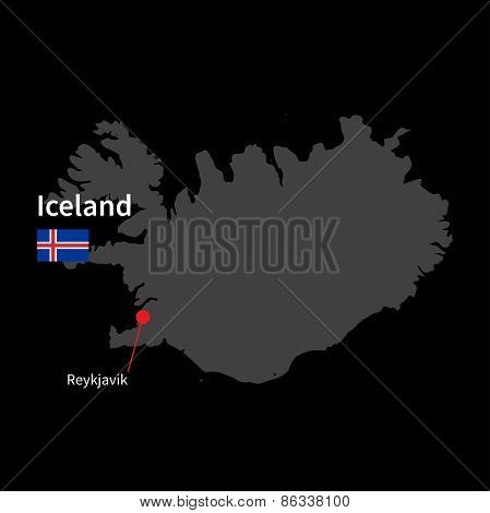 Detailed map of Iceland and capital city Reykjavik with flag on black background