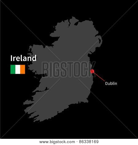 Detailed map of Ireland and capital city Dublin with flag on black background