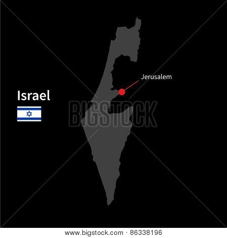 Detailed map of Israel and capital city Jerusalem with flag on black background