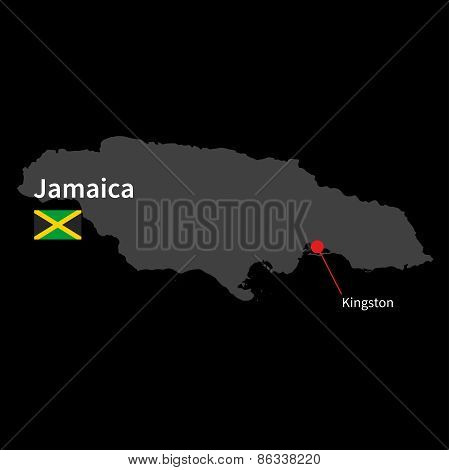 Detailed map of Jamaica and capital city Kingston with flag on black background