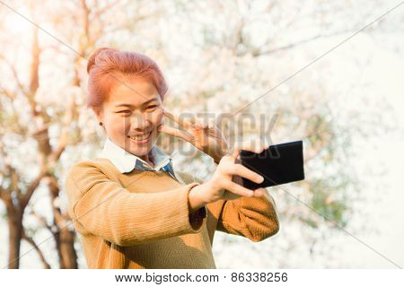 Smile Women Take Selfie Photo With Smartphone