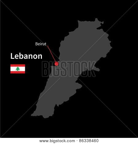 Detailed map of Lebanon and capital city Beirut with flag on black background