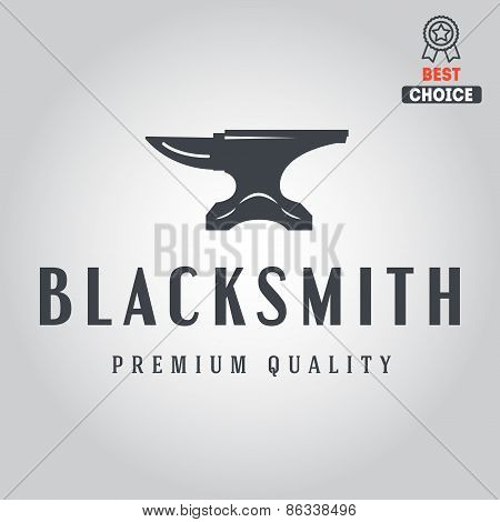 Logo for blacksmith, typographic logotype, badge or label