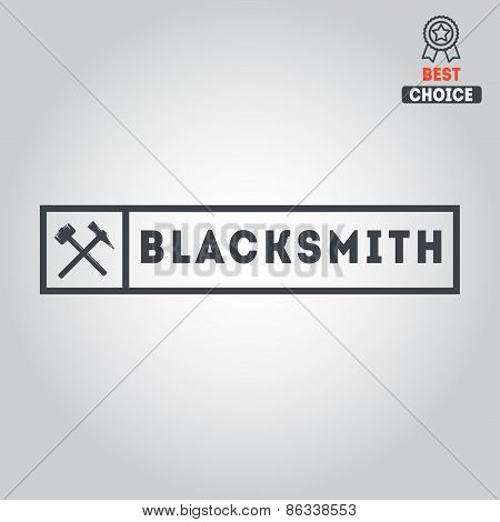 Logo for blacksmith, typographic logotype,  badge, emblem, label