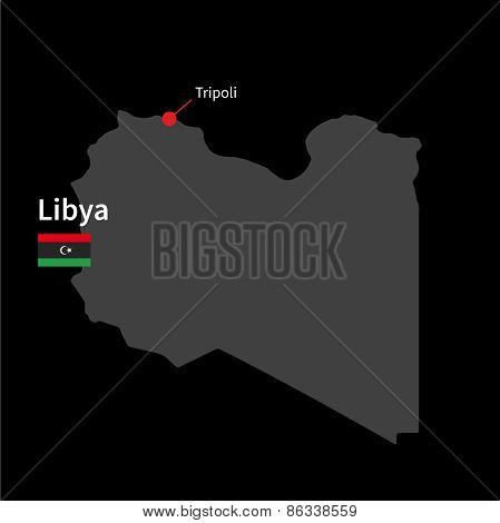 Detailed map of Libya and capital city Tripoli with flag on black background