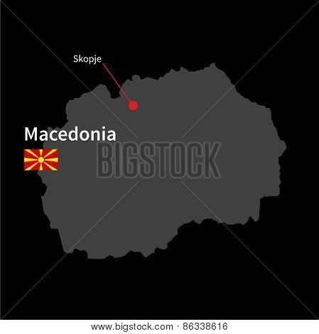 Detailed map of Macedonia and capital city Skopje with flag on black background