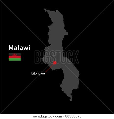 Detailed map of Malawi and capital city Lilongwe with flag on black background