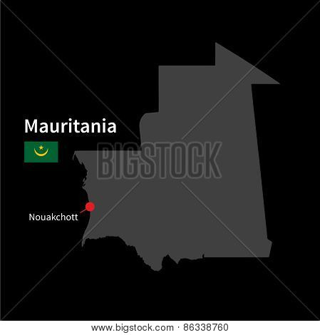 Detailed map of Mauritania and capital city Nouakchott with flag on black background