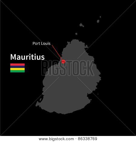 Detailed map of Mauritius and capital city Port Louis with flag on black background