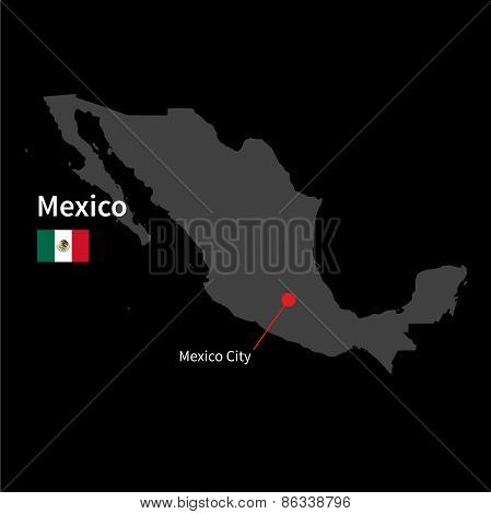 Detailed map of Mexico and capital city Mexico with flag on black background