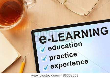 Tablet with word e-learning.