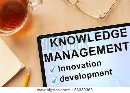 Tablet with words knowledge management.