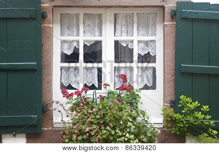 Old Wooden Window With Flowers In Green And White Tone