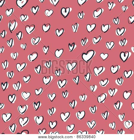 White Hearts on Pink Background. Seamless Hand Drawn Pattern