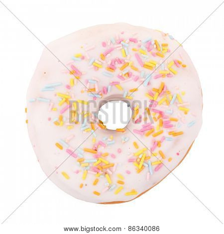Delicious donut with icing isolated on white