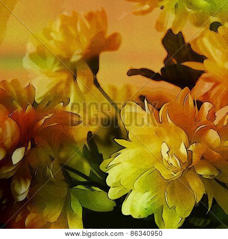 art colorful grunge floral watercolor paper textured background with white asters  in  gold, orange and green colors