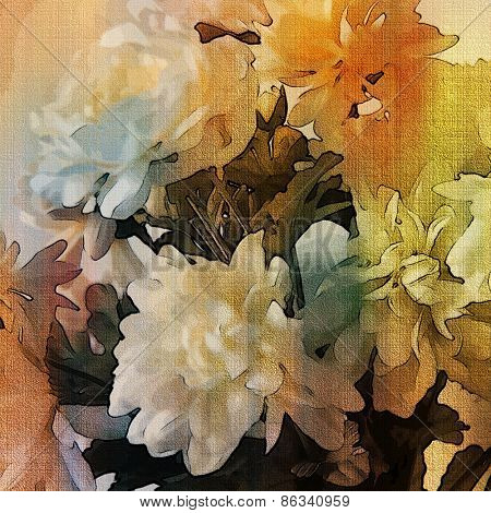 art colorful grunge floral watercolor paper textured background with white asters  in white, orange, gold, grey and black colors