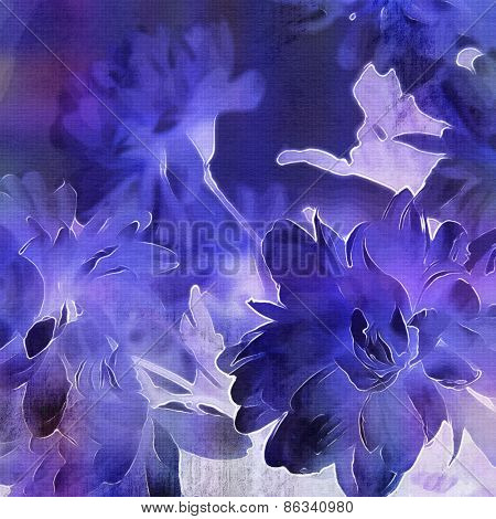 art monochrome grunge floral watercolor paper textured background with white asters  in  blue, white and black colors