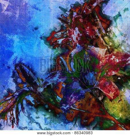 art colorful grunge floral watercolor paper textured background with lily in blue, green, orange, purple and violet colors