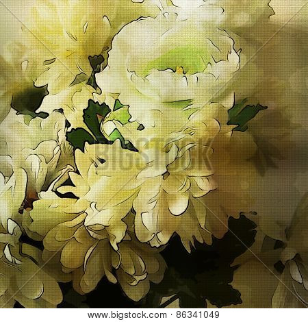 art colorful grunge floral watercolor paper textured background with white asters  in  colors