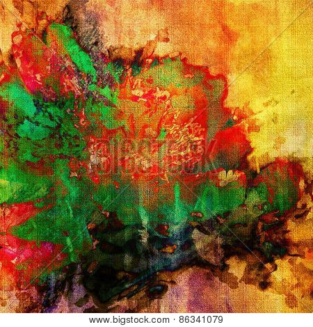 art colorful grunge floral watercolor paper textured background with peonies in gold, red, green and blue colors