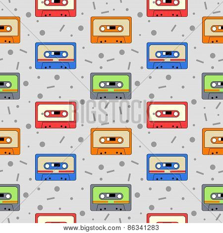 Audio Cassettes seamless pattern