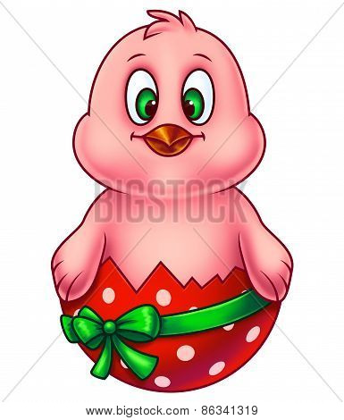 Pink Easter Chicken in Egg Shell