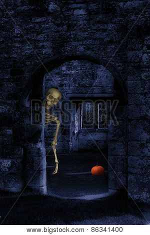 Skeleton in abbey ruins at Halloween