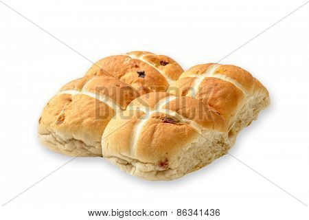 Hot Cross buns on a white background with drop shadow