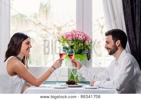 Cute Couple Having Romantic Dinner.