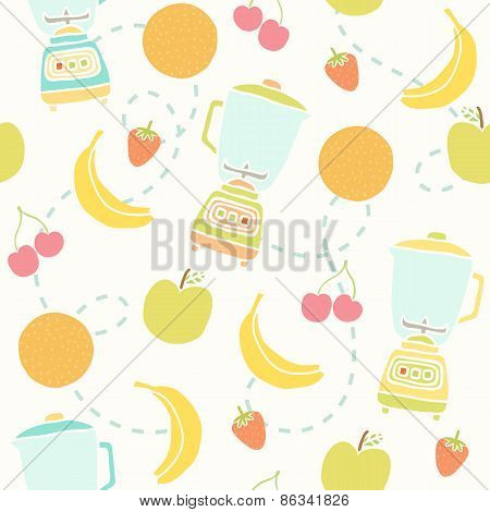 Blender and fruits pattern.