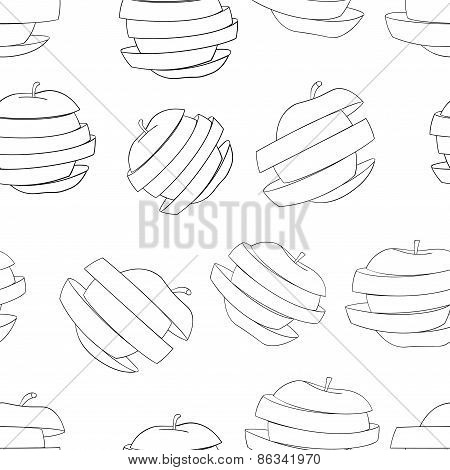 Delightful Garden - Seamless Pattern Of A Lot Of Sliced Apples.