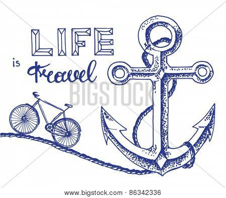 anchor and bicycle - travelling poster concept