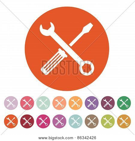 The Wrench And Screwdriver Icon. Settings Symbol