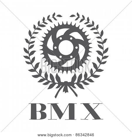 BMX concept with cogwheel inside laurel wreath Vector illustration