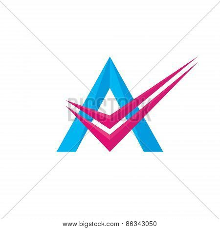 Letter A - vector logo concept illustration. Letter A with check logotype. Abstract logo.