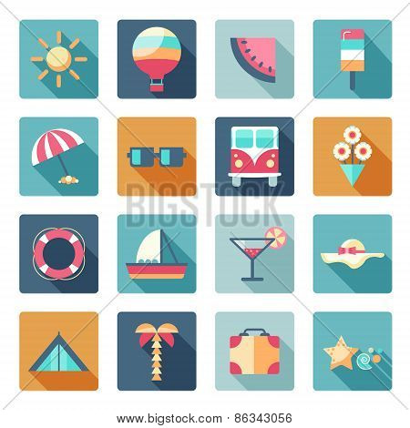 vector set of summer, traveling icons with shadows. Flat modern style, can use it for web, phone. Tr